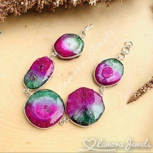 Jewelry - Rainbow Druzy Quartz Natural Stone Silver Bracelet